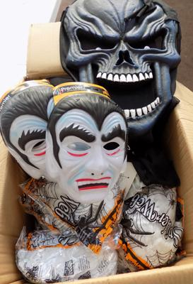 Box of Halloween items incl. masks