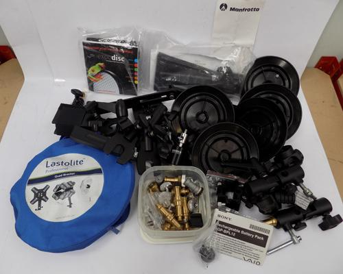 Mixed lot of clamps, accessories for photography lights, Manfrotto etc...