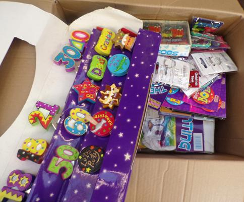 Large box of party items, incl. key rings, bottle openers, foil balloons