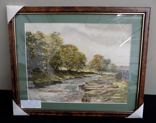 Original water colour Arthur Craven river Skirefare Litton, Littondale Yorkshire