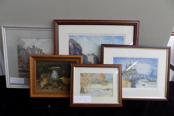 Selection of watercolours & oil paintings