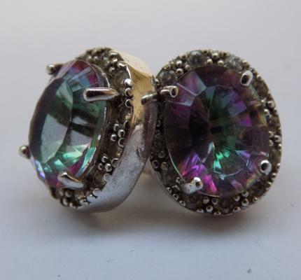 Vintage mystic topaz silver earrings
