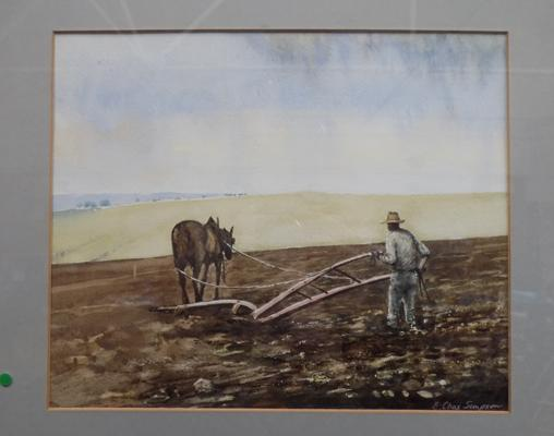 Original water colour titled; 'The Plough' by E. Chas Simpson - approximate dimensions 17 inches x 15 inches