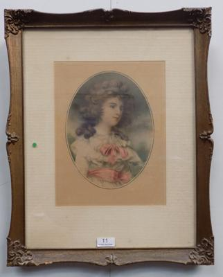 A Victorian style framed print; depicting a young woman - approximate dimensions 19 inches x 16 inches