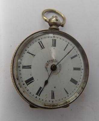Antique pocket watch, with bright cut decorated silver case and French enamelled face