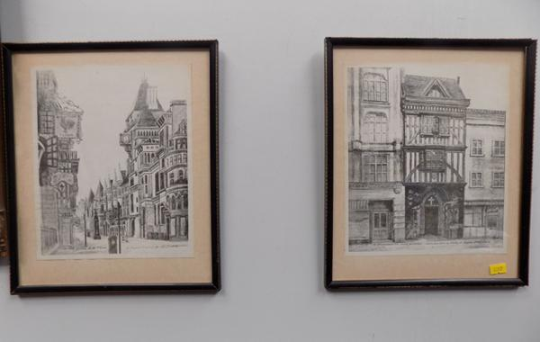 Two pencil drawings titled; 'The Law Courts in the Strand' and 'St Bartholomew the Great, Smithfield'