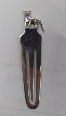 A solid silver bookmark with cat detail