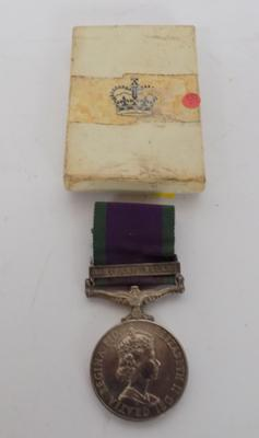Elizabeth II, Northern Ireland campaign medal; awarded to Private K J Duty