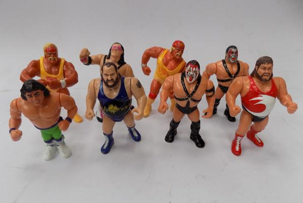 Eight early 1990s WWF wrestling figures; including Hulk Hogan