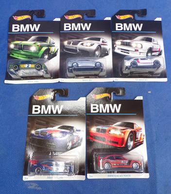 Five BMW Hotwheels cars - packaged as new
