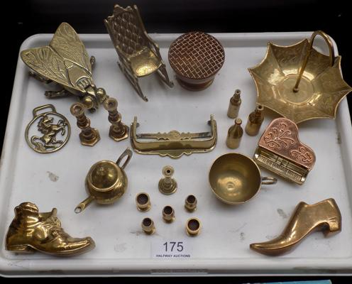Mixed brass novelty items; including miniature candlesticks and rocking chair