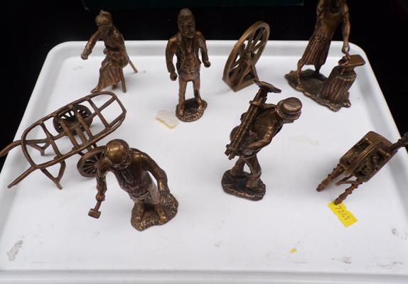Five brass/bronze tone, Victorian style workers - and other models