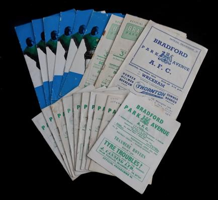 Twenty Bradford Park Avenue programs; dated between the 1950s and 60s