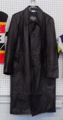 A gentleman's full length leather coat; size large