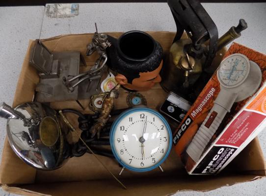 A box of mixed items and collectables; including blowlamp, mug and keys