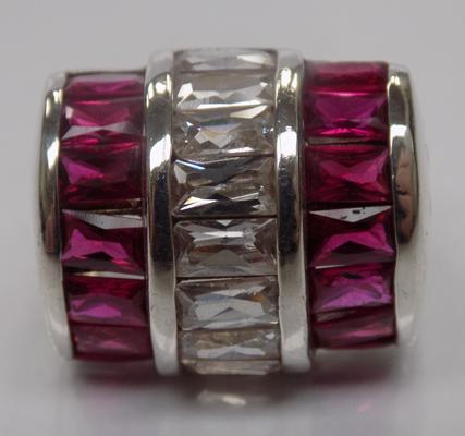 A 925 Silver pink and white set, barrel statement ring - approximate size S1/2