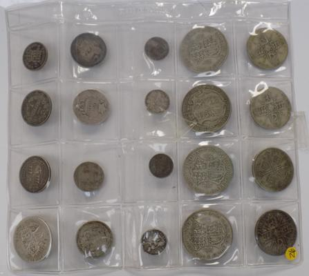 A coin collection; including silver half crowns, florins, 3d bits and 1845 four pence piece