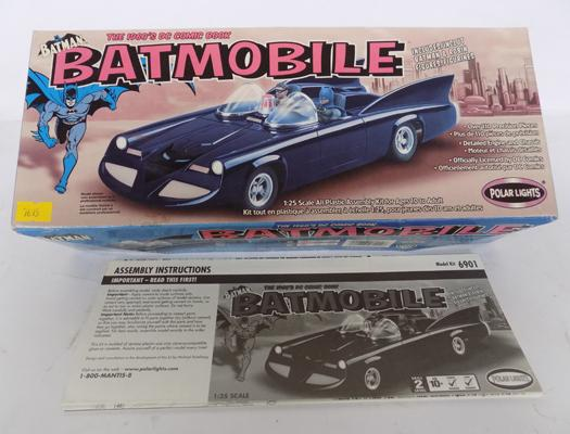 A Polar Lights 1:25 scale; model Batmobile kit - packaged as new