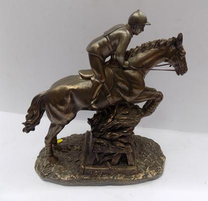 A limited edition Sport of Kings, bronzed racehorse - titled 'jumping beechers'