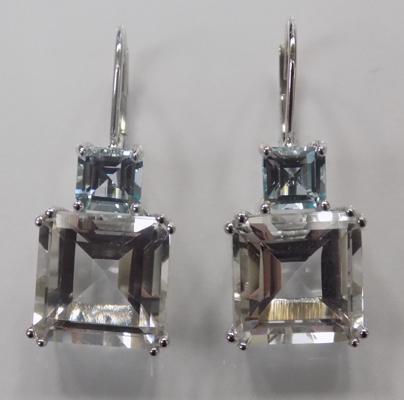 A pair of 9ct white gold blue topaz set earrings