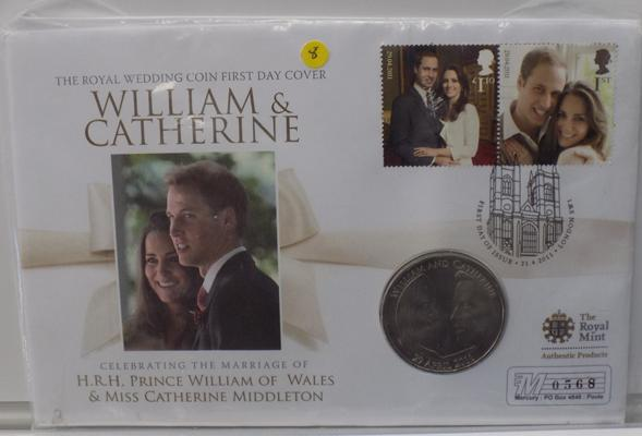 A William and Kate five pound coin, 2011 First Day Cover