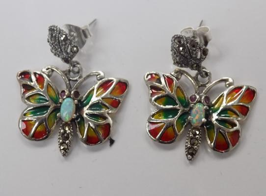 A pair of silver, opal and marcasite set butterfly earrings