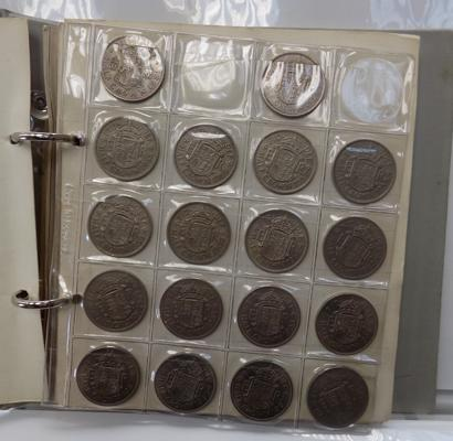 Album containing half crowns and other coins