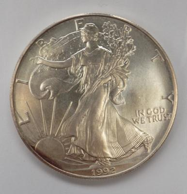 A one ounce fine silver; 1992 Liberty Dollar