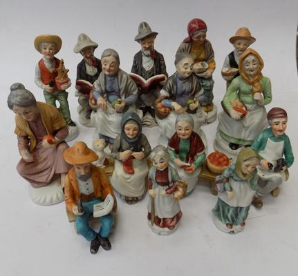 A collection of ceramic figures