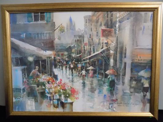 A Brent Heighton watercolour; titled 'After the Rain' - approximate dimensions 31 inches x 23 inches