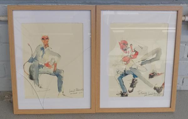 A pair of 'Louis Benoit' prints, signed by the artist - glass cracked on one frame