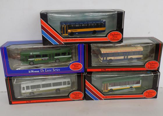 Five limited editions Corgi die cast buses - boxed