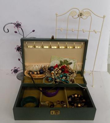 Mixed costume jewellery, box and stands