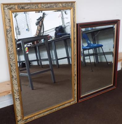 Two bevel edged mirrors