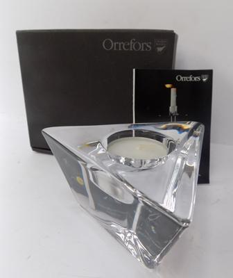 A Swedish, Orrefors glass candle holder - boxed as new