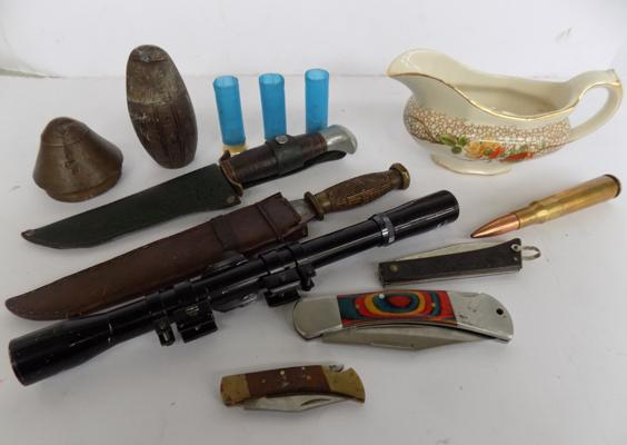 A selection of mixed items; including scope and knives