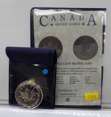 A fine silver, one ounce five Canadian Dollar coin; dated 1992