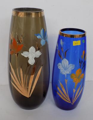 Two hand decorated glass vases