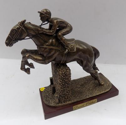 A Sport of kings bronzed racehorse, titled 'Desert Orchid' on wooden base
