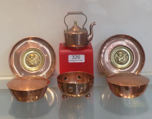Mixed vintage copper items; including miniature copper kettle - and Arts & Craft's style bowls