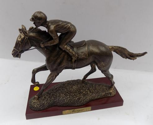 A Sport of kings bronzed racehorse, titled 'Shergar' on wooden base