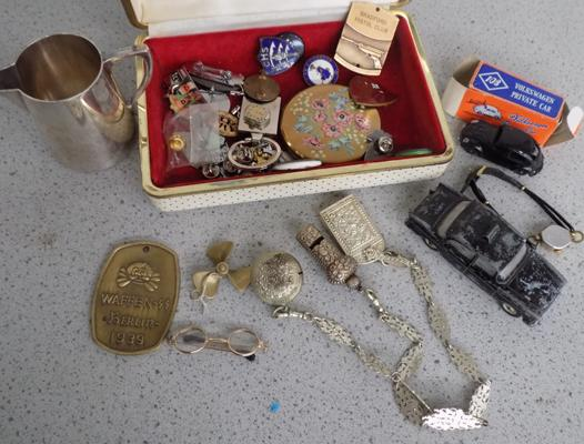 A selection of mixed items; including Dinky, badges and jewellery