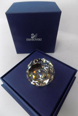 A boxed Swarovski cut glass crystal Brugge paperweight