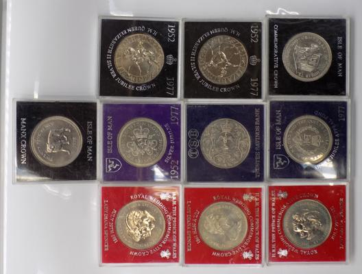 Ten cased crown coins; including Isle of Man
