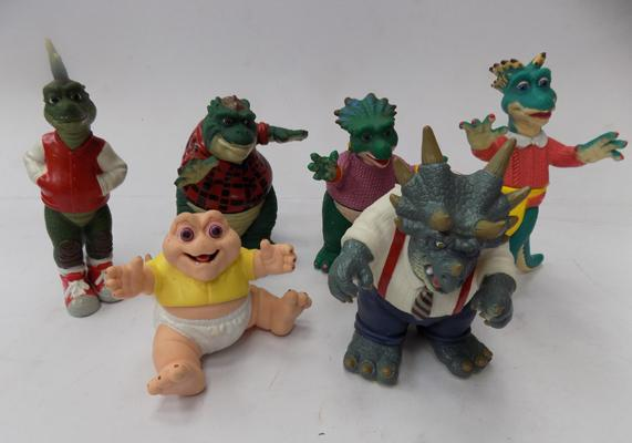 A set of six Disney/Jim Henson Dinosaurs series  figures; including Baby Sinclairs and the Boss - circa 1991