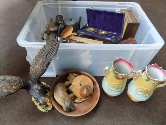 A box of mixed and vintage items; including treen, metal ware and a pair of antique style vases