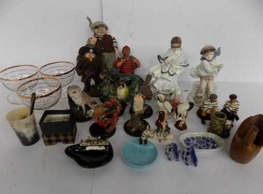 A selection of mixed items; including Coalport, Wade, country artists and pressed glass