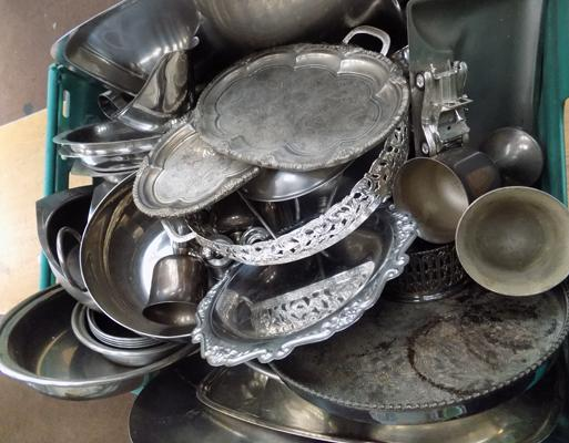 A selection of mixed metal ware; including antique style trays and jugs