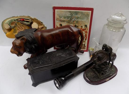 A selection of mixed items - including glass jar and lion figure