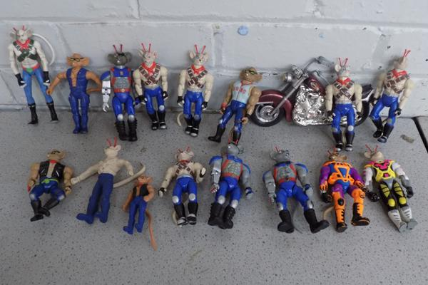 A collection of Biker Mice from Mars figures; including motorbikes